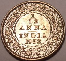 Buy Rare Gem Uncirculated India 1932-C 1/12th Anna~King George The 5th~Free Shipping