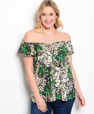 Buy Viva You Multi Colored Floral Off Shoulders Top Junior Plus Size 1XL-3XL