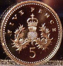 Buy Gem Cameo Great Britain Proof 1996 5 Pence~Crowned Thistle~Free Shipping