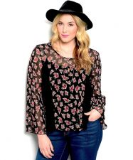 Buy Women's Sheer Floral Top Lace Inserts Back Ties Split Open Back Shop The Trends