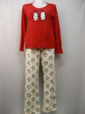 Buy Ladies Pajama Set Size XL Knit Top & Plush Fleece Pants Penguins Applique V-Neck