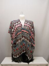 Buy SIZE XL Womens Swimsuit Cover Up Wrap Sheer OP Geometric Kimono Sleeves Fringed