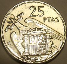 Buy Large Unc Spain 1957(70) 25 Pesetas~Edge Incription~Una Grande Libre~Free Ship*