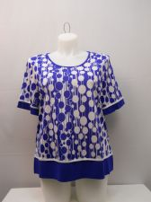 Buy PLUS SIZE 3XL Womens Knit Top ESSENTIAL Multi Geometric Short Sleeves Pullover