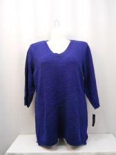 Buy Karen Scott Sweater Plus Size 0X Solid Blue V-Neck 3/4 Sleeves Tunic Med Knit