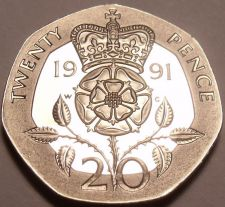 Buy Rare Proof Great Britain 1991 20 Pence~Only 10,000 Minted~Excellent~Free Ship