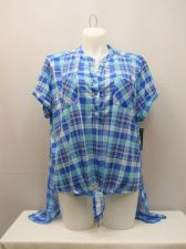 Buy French Laundry Womens Long Shirt Tail Top Plus Size 2X Sheer Back Blue Plaid Tie