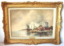 Buy LISTED ARTIST JOHANNES HERMANUS KOEKKOEK JNR (Dutch,1836-1909) DUTCH HARBOR W/C