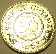 Buy Large Rare Proof Guyana 1967 50 Cents~1st Year Ever~5,100 Minted~Free Shipping