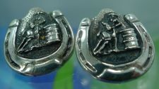 Buy Post Earrings : Western Barrel Racer Horseshoe Signed Justin Silver Mexico