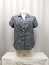 Buy Karen Scott Top Plus Size 0X Blue Chambray Polka Dot Short Sleeve Collared Neck