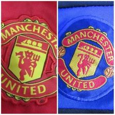 Buy Manchester United Soccer Football Logo Lot 2 Blue Red Woven Patchs Sew on Jersey