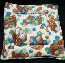 Buy 100% quilted Cotton Pot Holder Country Cats design hand made