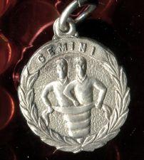 Buy vintage GEMINI charm STERLING 925 SILVER ZODIAC HOROSCOPE ASTROLOGY