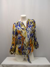 Buy SIZE M Womens Top ZAC RACHEL Multi Geometric Long Sleeves V Neck Waist Ties