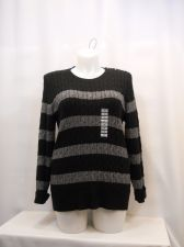 Buy Charter Club CrewNeck Sweater Plus Size 2X Black/Silver Striped Long Sleeves