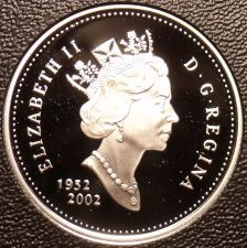 Buy Rare Cameo Silver Proof Canada 2002 25 Cents~21,573 Minted~50th Anniv~Free Ship