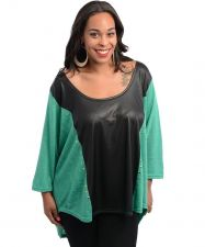 Buy 2BME Green/Black Studded Front Scoop Neck 3/4 Sleeves Knit Top Size 1X-3X