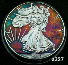 Buy High Grade Rainbow Toned Silver American Eagle 1oz fine silver uncirc. #a327