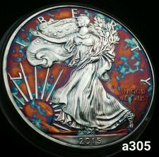 Buy 2015 Rainbow Toned Silver American Eagle 1oz fine uncirc. with velvet case #a305