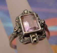 Buy sz 8.5 Ring : Vintage Amethyst and Marcasite Set in Sterling signed G or GV