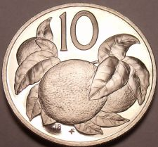 Buy Proof Cook Islands 1976 10 Cents~18,000 Minted~Orange Tree~Free Shipping