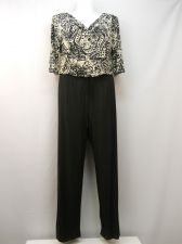Buy Emma & Michele Jumpsuit Size XL Black Paisley Cowl Neck Wide Leg 3/4 Sleeves