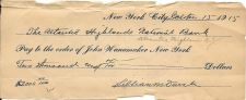 Buy Rare $2000.00 Check 1915 To John Wanamaker New York~Lillian Duvale Estate~Fr/Shi