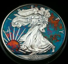 Buy 2015 Rainbow Toned Silver American Eagle 1 ounce fine silver uncirculated #a290
