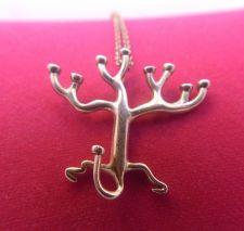 Buy Modernist Menorah Tree Of Life Judaic Silver Pendant & Chain - Rosenthal Israel