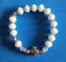 Buy One of a kind Handmade/Unique Rosary Bracelet with Chinese Opaque Crystal Beads