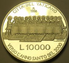 Buy Rare Silver Proof Vatican 1998 10,000 Lire~The Last Supper~30,000 Minted~Free Sh