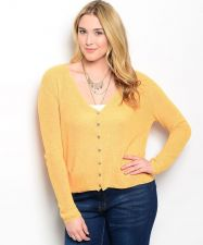 Buy Katia Women's Cardigan Long Sleeve Button V-Neck Yellow Size 1XL-2XL 2XL-3XL