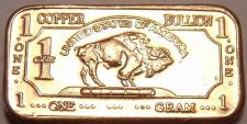 Buy Gem Unc .999 Pure Copper 1 Gram Buffalo Bar~Totonka~Free Shipping