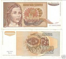 Buy YUGOSLOVIA 10,000 DINARA~HIGH DENOMINATION~~FREE SHIP~~