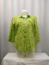 Buy Karen Scott Top Plus Size 0X Lime Polka Dot/Butterfly 3/4 Sleeve Collared Neck