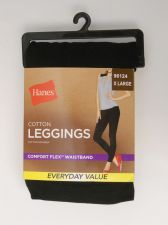 Buy Hanes Women's Cotton Leggings Size XL Solid Black Comfort Flex Waistband 95% Cot