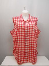 Buy PLUS SIZE 4X 26W 28W Womens Button Shirt FADED GLORY Checked Collar Sleeveless
