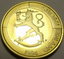 Buy Rare Proof Finland 1994 Markka~Rampant Lion~5,000 Minted~Excellent~Free Shipping