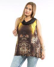 Buy Dila Paisley/Animal Print Cowl Draped Neck Sleeveless Knit Tunic Top Size 1X-3X