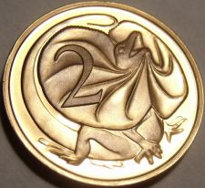Buy Cameo Proof Australia 1977 2 Cents~Only 55,000 Minted~Frill-necked lizard~Fr/Shi
