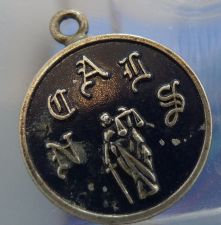 Buy vintage CHARM : NCAIS OR NCAUS / JUSTICE / BLACK ENAMEL & STERLING signed B