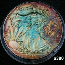 Buy 2015 Rainbow Monster Toned Silver American Eagle Coin 1oz uncirculated #a380