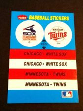 Buy VINTAGE WHITE SOX-TWINS FLEER BASEBALL COLLOECTERS STICKER GD-VG
