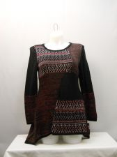 Buy Plus Size 2X Women's Sweater STYLE&CO. Black Red Tunic Patchwork Asymmetrical