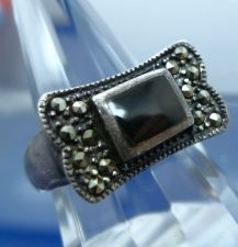 Buy sz 8 RING: sterling 925 silver (1) Onyx & (14) Marcasite LOTS OF PATINA