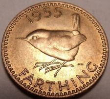 Buy Rare Unc Great Britain 1955 Farthing~We Have Unc Farthings Different Years~Fr/Sh
