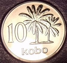 Buy Rare Proof Nigeria 1973 10 Kobo's~1st & Only Year In Proof~Palm Trees~Free Ship