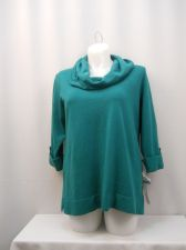 Buy PLUS SIZE 1X 2X Tunic Sweater JM COLLECTION Button Cuffed 3/4 Sleeves Cowl Neck