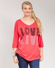 Buy Roman Coral (LOVE/LIVE) Beaded V-Neck 3/4 Dolman Sleeves Knit Top Size 1X-3X